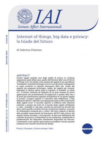 Internet of things, big data e privacy   IAI Istituto Affari