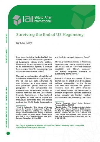 Surviving The End Of Us Hegemony Iai Istituto Affari Internazionali