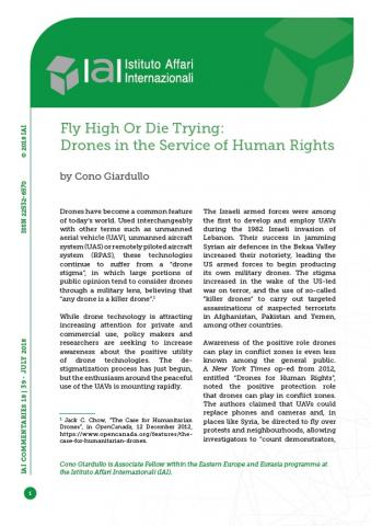Fly High Or Die Trying: Drones in the Service of Human Rights   IAI